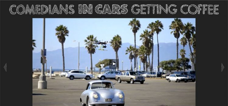 Comedians in cars getting coffee drone