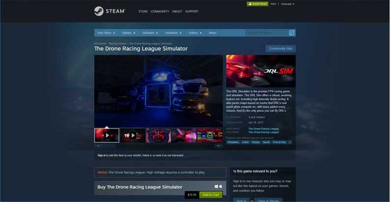 Drone Racing League Simulator Steam