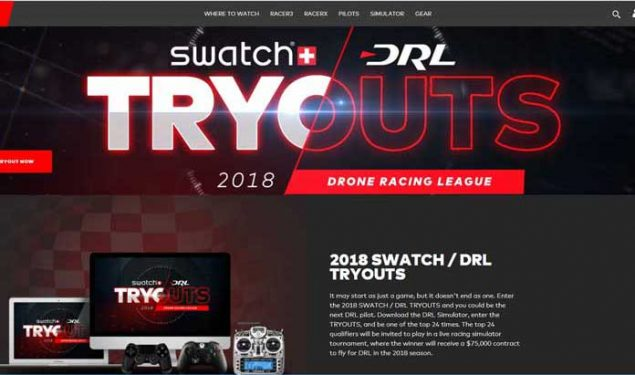 Drone Racing league 2018 Swatch DRL Tryouts