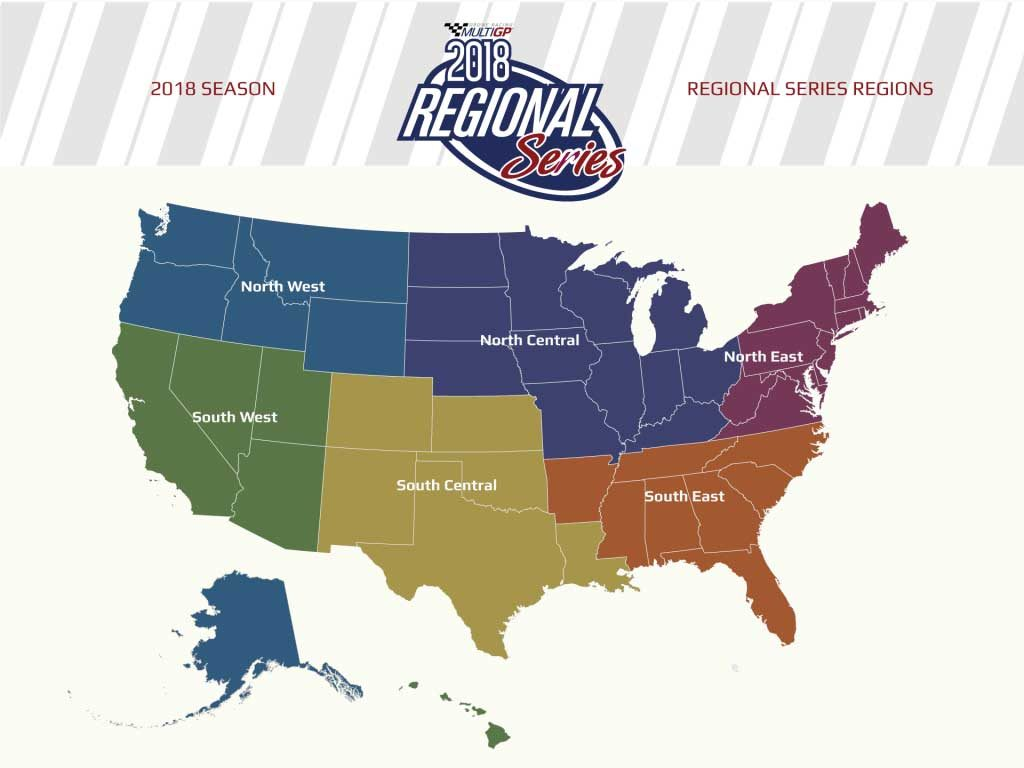 2018 MultiGP Regional Series Regions Map